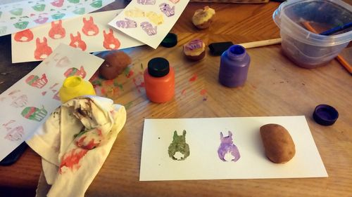 Potato print bunnies